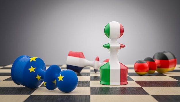 Pedine degli scacchi con bandiera italiana, francese, tedesca ed europea. Foto Premium
