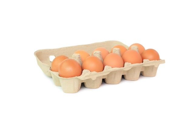 Uova di pollo marrone in scatola di cartone su bianco Foto Premium
