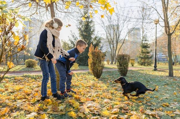 Bambini ragazzo e ragazza che giocano con il cane bassotto in un parco soleggiato di autunno Foto Premium