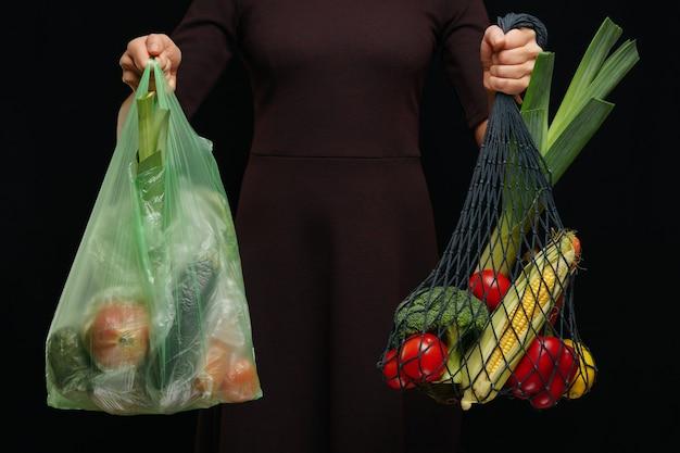 Possibilità di utilizzare sacchetti di plastica o sacchetti multiuso Foto Premium