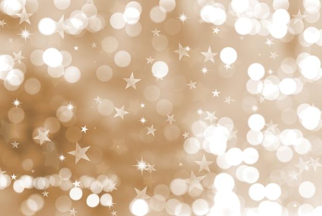 Sfondo di natale con stelle e luci bokeh Foto Premium