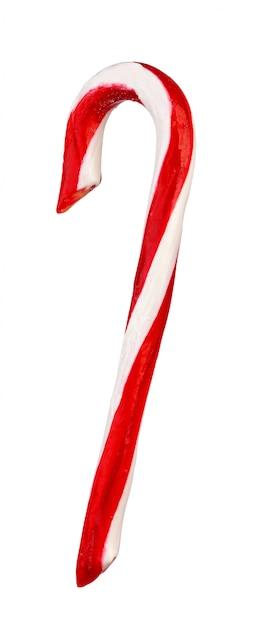 Bastoncino di zucchero di natale isolato su bianco Foto Premium
