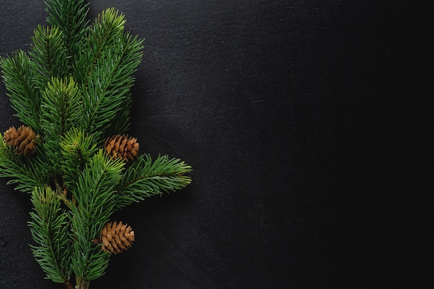 Deco di natale con abete su sfondo scuro. lay piatto. concetto di natale Foto Premium