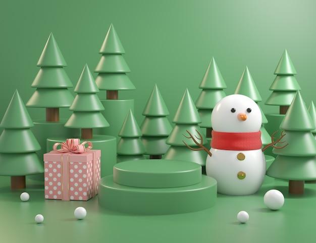 Il concetto del podio del modello di natale con il fondo 3d dell'albero di natale rende Foto Premium