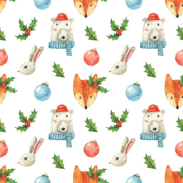 Tema natalizio con simpatici animali Foto Premium