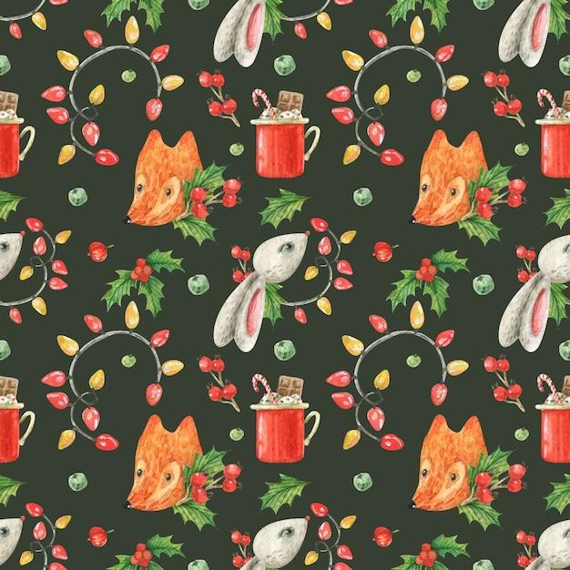 Tema natalizio con volpe e coniglio Foto Premium