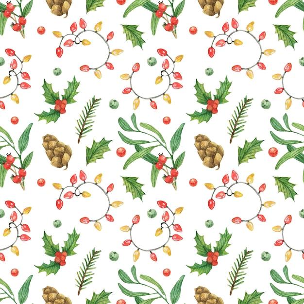 Tema natalizio con ghirlanda, coni e rami degli alberi Foto Premium