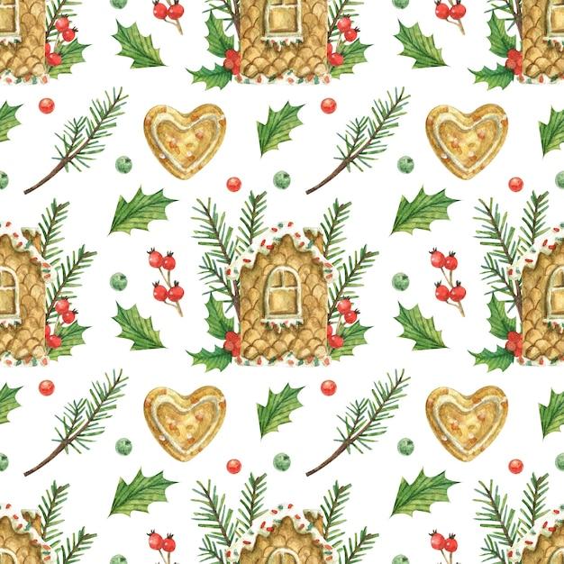 Tema natalizio con casa di marzapane, biscotti a forma di cuore Foto Premium