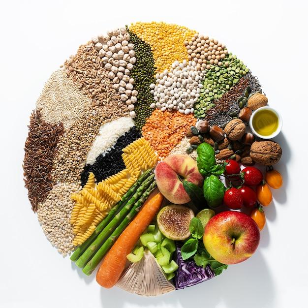 Cerchio di ingredienti e prodotti vegani di base. cereali, legumi, verdura fresca e frutta, oli, semi e noci. dieta sana equilibrata isolata su bianco Foto Premium