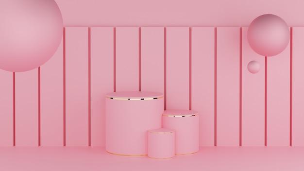 Cerchio podio rosa pastello colore e bordo oro con sfera a tre ranghi e polo quadrato Foto Premium