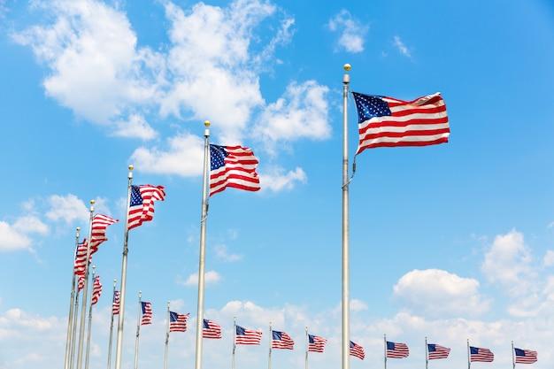 Fila circolare posizionata di bandiere americane soffiata dal vento. washington dc distretto di columbia Foto Premium