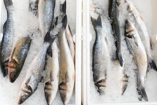 Clese up di pesce congelato sullo scaffale del supermercato Foto Premium