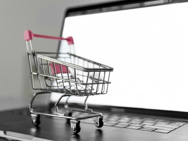 Concetto di shopping online di primo piano Foto Premium