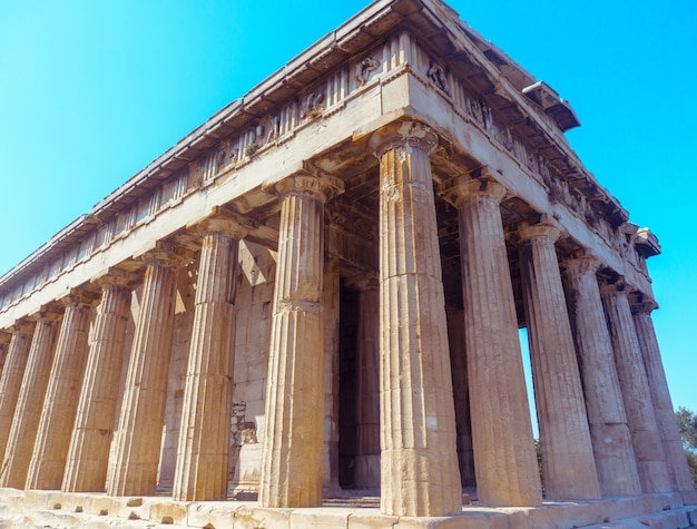 Vista ravvicinata di antiche rovine greche Foto Premium