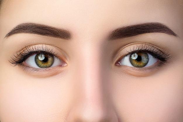 Vista ravvicinata di bellissimi occhi marroni femminili. sopracciglia alla moda perfette. buona visione, lenti a contatto, barra per sopracciglia o concetto di trucco per sopracciglia di moda Foto Premium