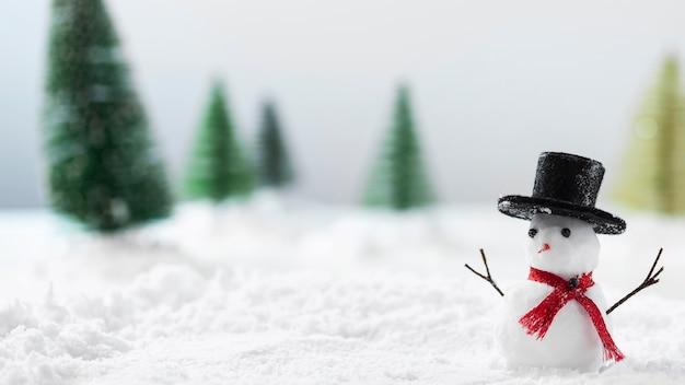 Vista ravvicinata del concetto di pupazzo di neve Foto Premium
