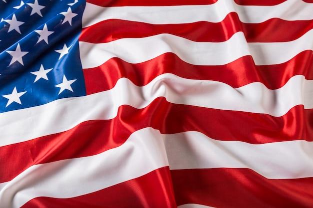 Primo piano del fondo arruffato della bandiera americana Foto Premium
