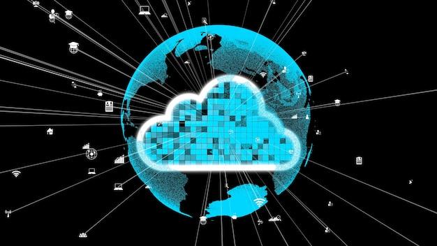 Tecnologia di cloud computing e archiviazione dati per innovazioni future Foto Premium