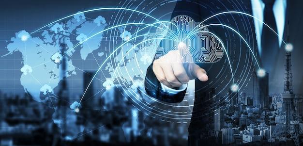 Tecnologia di cloud computing e archiviazione dei dati online per la condivisione globale dei dati Foto Premium