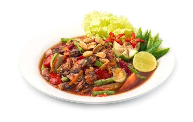 Insalata piccante dei cuori edule in salsa di pesce marinata alimento tailandese piccante Foto Premium