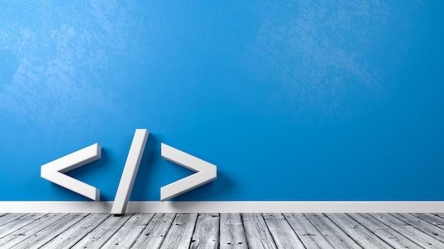Simbolo di codifica nella stanza isolata Foto Premium