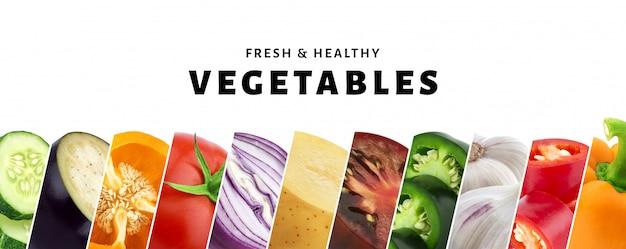 Collage della verdura isolato con il primo piano delle verdure fresche e sane dello spazio della copia, Foto Premium