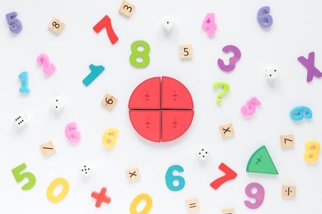 Numeri e frazioni matematiche colorate Foto Premium