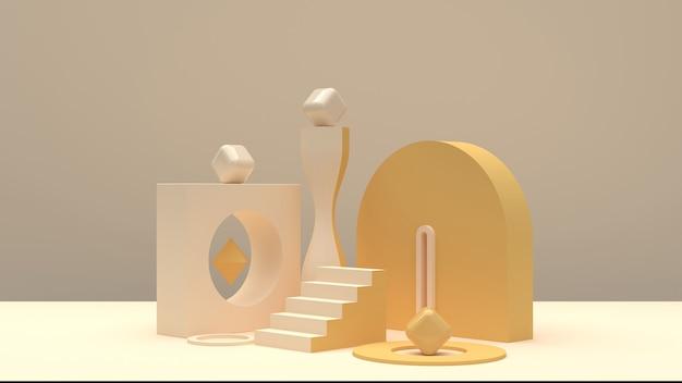 Composizione dalle forme arrotondate nei toni dello champagne per la dimostrazione del prodotto Foto Premium