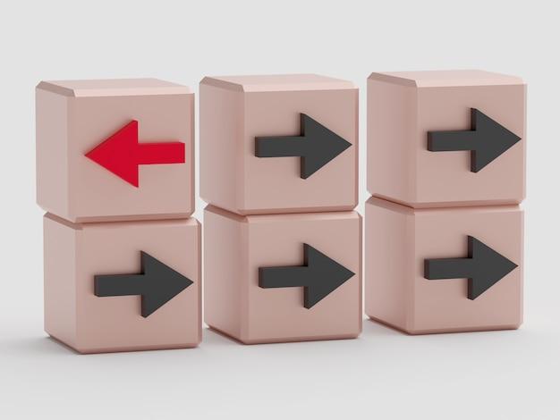 Concetto di individualità. cubi con frecce. un cubo con una freccia rossa, gli altri con una freccia nera. rendering 3d Foto Premium
