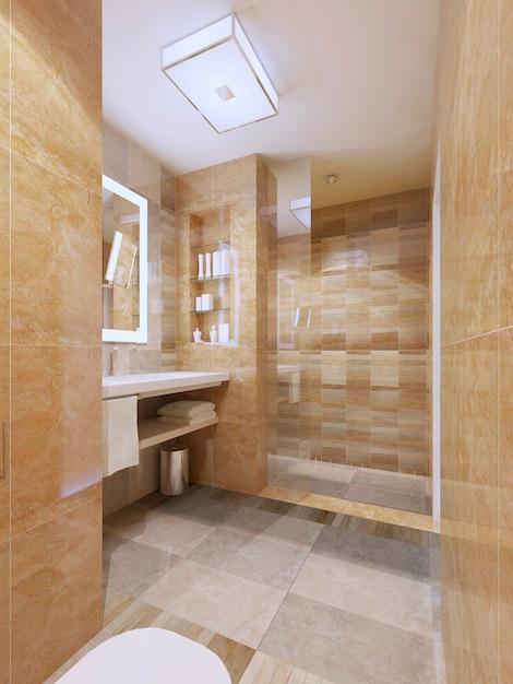 Bagno dal design contemporaneo con pareti piastrellate e pavimento con ante in vetro per doccia. Foto Premium