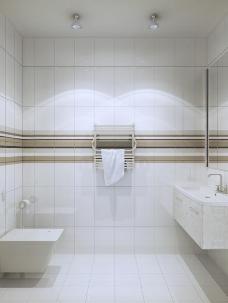 Wc moderno con piastrellatura verticale Foto Premium
