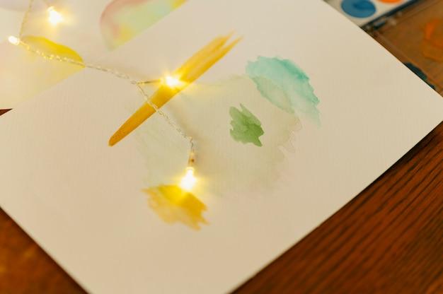 Creativo disegno ad acquerello astratto e luci Foto Premium