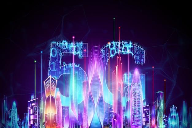 Sfondo creativo, 5g smartphone e ologramma smart city, concetto di tecnologia di trasmissione di big data, rete 5g, internet mobile ad alta velocità. rendering 3d, illustrazione 3d. Foto Premium