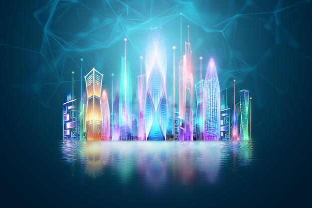Sfondo creativo, città intelligente, concetto di tecnologia di trasmissione di grandi quantità di dati. rendering 3d, illustrazione 3d. Foto Premium