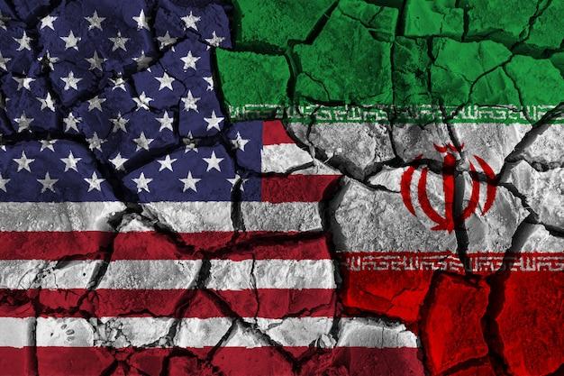 Crisi e conflitto concetto di america e iran Foto Premium