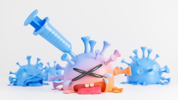 Piangere il simpatico personaggio del virus della colona arancione e blu che viene iniettato con la siringa su sfondo bianco., vaccino covid-19., modello 3d e illustrazione. Foto Premium