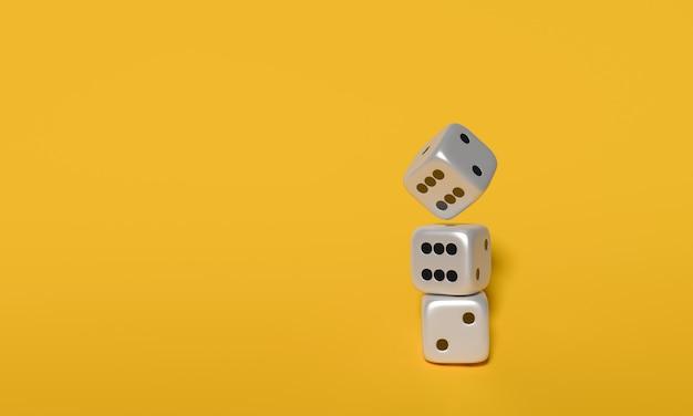I cubi tagliano rappresentazione 3d su fondo giallo. Foto Premium