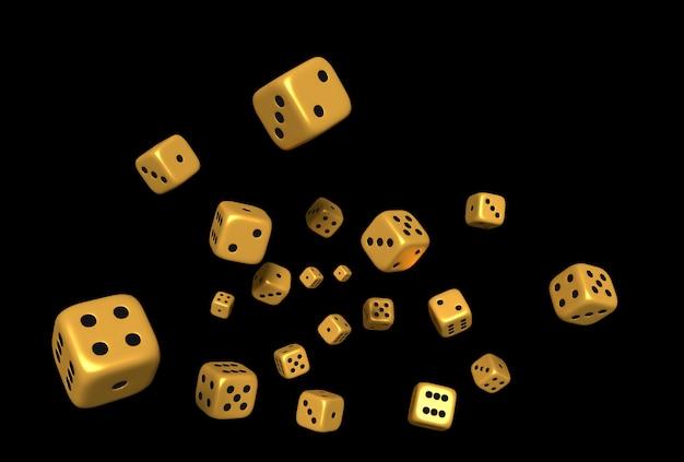 I cubi tagliano il rendering dell'oro di colore 3d su fondo nero. Foto Premium