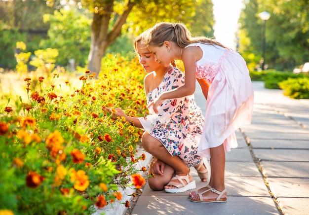 Carine adorabili ragazze in abiti rosa delicati annusano meravigliose calendule infuocate in un luminoso parco estivo in una giornata di sole in una vacanza tanto attesa Foto Premium