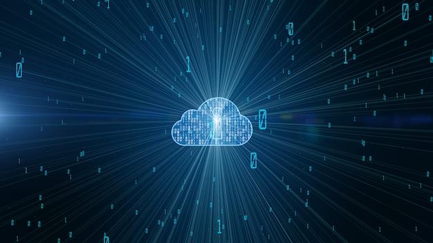 I dati digitali sulla sicurezza informatica e lo sguardo futuristico concettuale alla tecnologia dell'informazione del big data cloud computing usando l'intelligenza artificiale ai Foto Premium