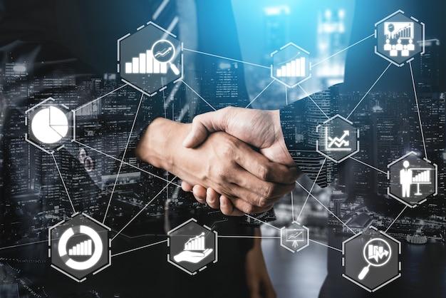 Analisi dei dati per il concetto di affari e finanza. analisi dei profitti della tecnologia informatica, mercato online. Foto Premium