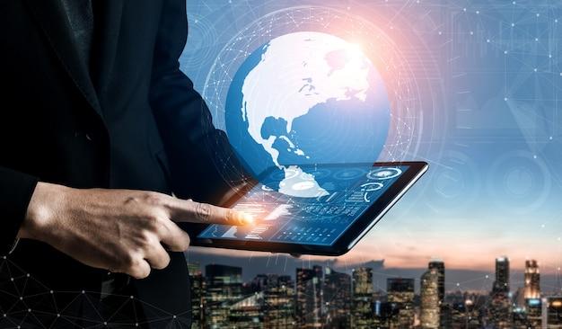 Analisi dei dati per il concetto di affari e finanza. interfaccia grafica che mostra la futura tecnologia informatica di analisi del profitto Foto Premium