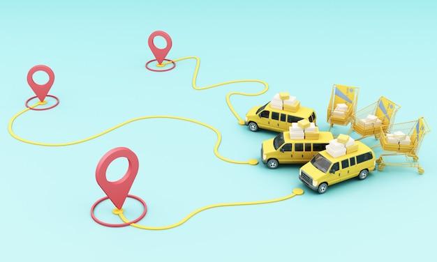 Consegna in moto scooter e furgone giallo con applicazione mobile di localizzazione Foto Premium