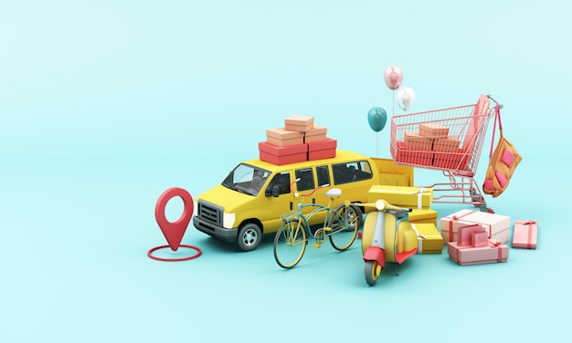 Consegna in scooter giallo e furgone giallo con applicazione mobile di localizzazione Foto Premium