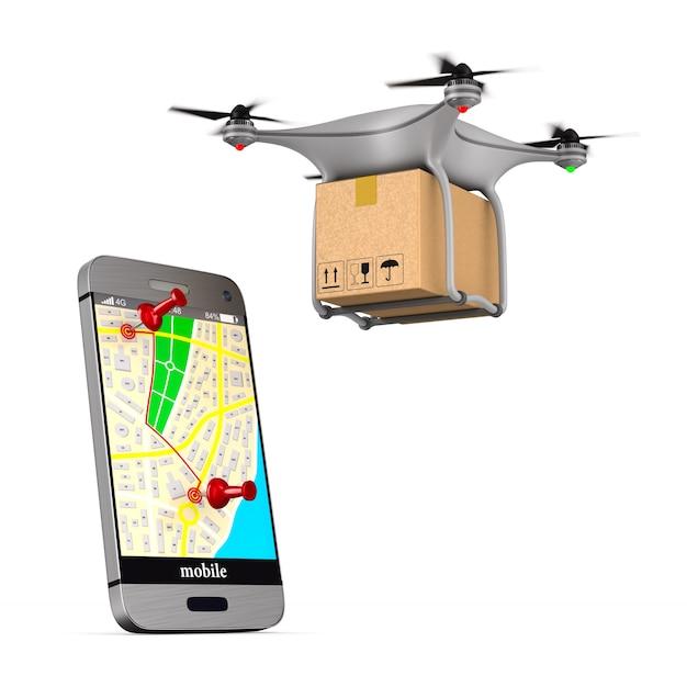 Sistema di consegna su bianco. Foto Premium