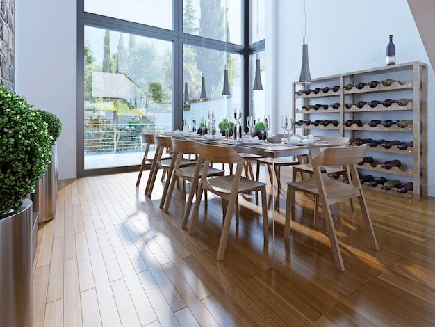 Il design della sala da pranzo con mobili marroni con un soffitto alto e finestre panoramiche offre una buona vista. Foto Premium