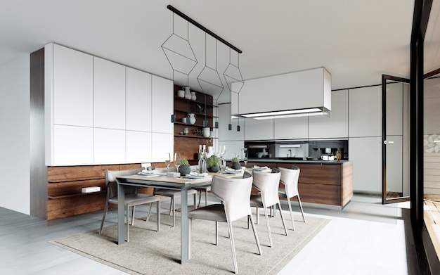 Tavolo da pranzo di design impostato in cucina. stile contemporaneo. Foto Premium