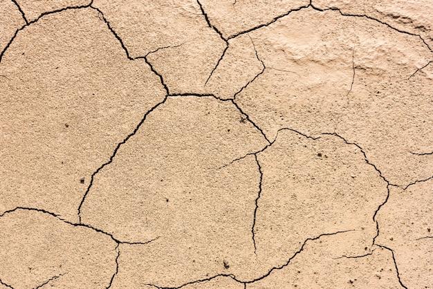 Dettagli di un terreno di terra screpolata secca. sfondo Foto Premium
