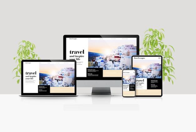 Dispositivi mock-up scena viaggio blog rendering 3d Foto Premium