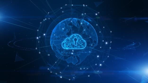 Digital cloud computing della sicurezza informatica, protezione della rete dati digitale Foto Premium